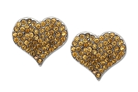 Sassy Clips Silver Petite Heart with Light Colorado Topaz Crystal Rhinestones