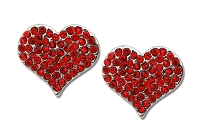 Sassy Clips Silver Petite Heart with Ruby Red Crystal Rhinestones