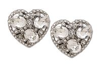 Sassy Clips Silver Heart With Floating Stones and Clear Crystal Rhinestones