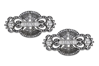 Sassy Clips Antique Silver Art Deco with Baguette and Clear Crystal Rhinestone