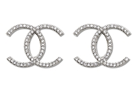 Sassy Clips Crystal Double-C Design Silver Clips