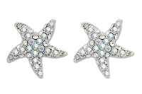 Sassy Clips AB Crystal Rhinestone Petite Starfish Silver Clips