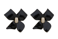 Sassy Clips Petite Ribbon Black Epoxy Bow with Clear Crystal Rhinestone Center Clips