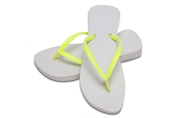 Sassy Slim White with Neon Yellow Color Flip Flop