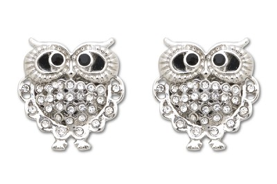 Sassy Clips Contemporary Silver Owl Small AB Crystal Rhinestones