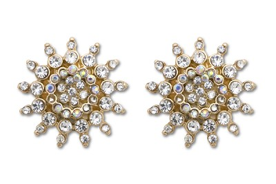 Sassy Clips Clear Crystal Rhinestone Gold Small Sunburst Clips