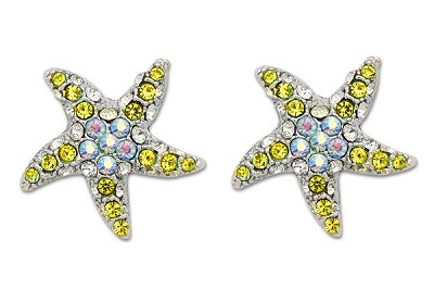 Sassy Clips Optic Yellow & AB Crystal Rhinestones Petite Starfish Silver Clips