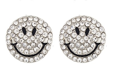 Sassy Clips Clear Crystal Rhinestone Smiley Face Silver Clips