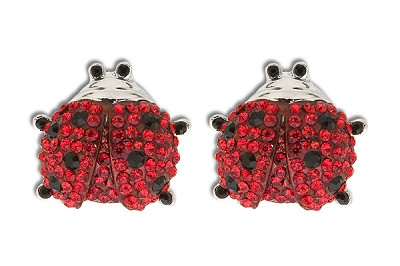 Sassy Clips Silver Ladybug with Ruby Red  and Jet Black Crystal Rhinestones