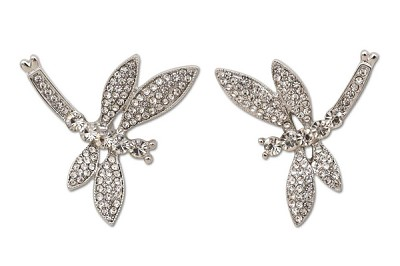 Sassy Clips Silver Dragonfly with Clear Crystal Rhinestone Wings and Tail