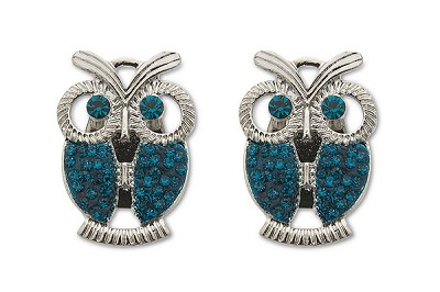 Sassy Clips Silver Owl with Blue Zircon Crystal Rhinestone Wings & Eyes