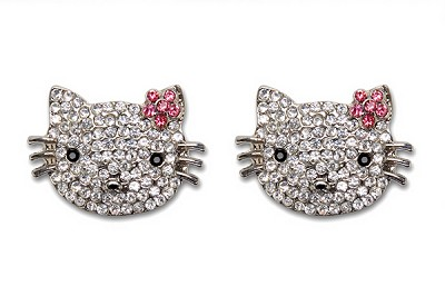 Sassy Clips Silver Feline with Clear Rose Jet Black Crystal Rhinestones