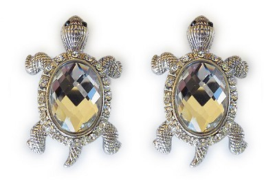 Sassy Clips Silver Turtle with Clear Crystal Rhinestones and Clear Acrylic Stone Shell