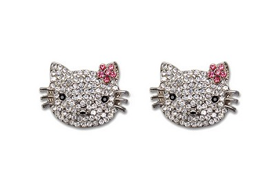 Sassy Clips Silver Petite Feline with Clear- Rose- Jet Black Crystal Rhinestones