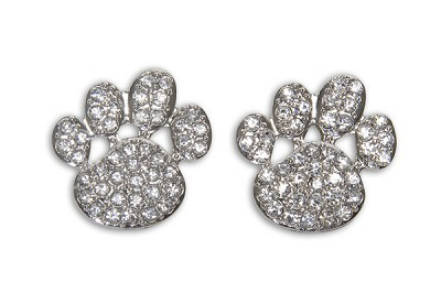 Sassy Clips Silver Paw with Clear Crystal Rhinestones
