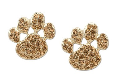 Sassy Clips Gold Paw with Light Colorado Topaz Crystal Rhinestones