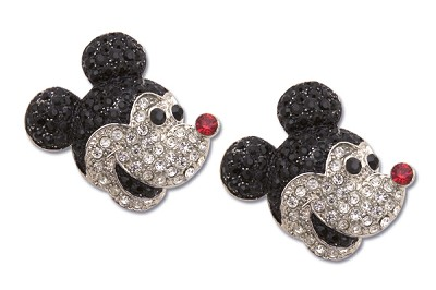Sassy Clips Silver Sassy Mouse with Jet Black Clear Ruby Red Crystal Rhinestone