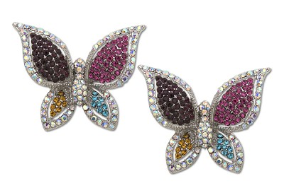 Sassy Clips Silver Majestic Butterfly with Multi Color and AB Crystal Rhinestone