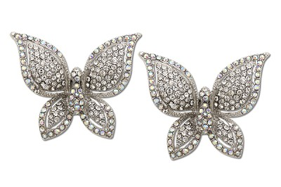 Sassy Clips Silver Majestic Butterfly with Clear and AB Crystal Rhinestone