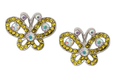 Sassy Clips Silver Petite Butterfly with Optic Yellow and AB Crystal Rhinestones