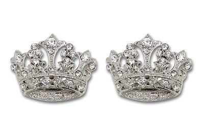 Sassy Clips Royal Silver Crown with Clear Crystal Rhinestones