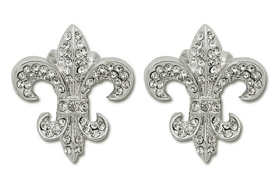Sassy Clips Silver Provincial Fleur de Lis with Clear Crystal Rhinestones