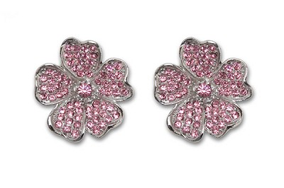 Sassy Clips Silver Flower Petals with Light Rose Crystal Rhinestones