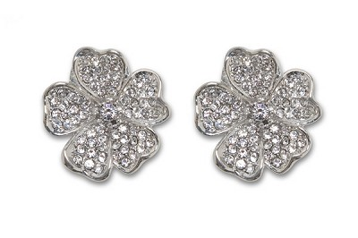 Sassy Clips Silver Flower Petals with Clear Crystal Rhinestones
