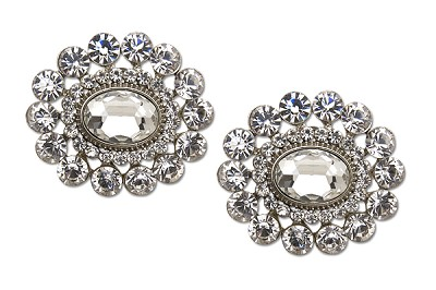Sassy Clips Silver Oval Crystals with Small and Large Crystal Rhinestone