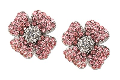 Sassy Clips Silver Poppy with Light Rose and Clear Crystal Rhinestones