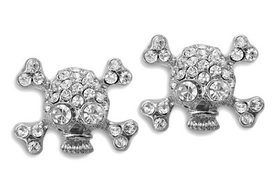 Sassy Clips Silver Skull with Clear Crystal Rhinestones