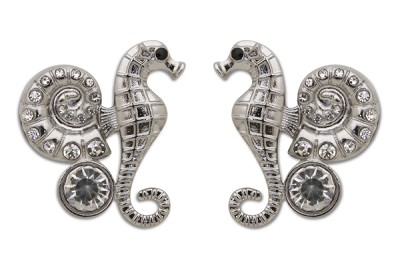 Sassy Clips Silver Seahorse with AB Crystal Rhinestones and Large Clear Crystal Stone