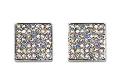 Sassy Clips Silver Solid Square with AB Crystal Rhinestones