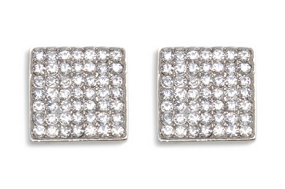 Sassy Clips Silver Solid Square with Clear Crystal Rhinestones