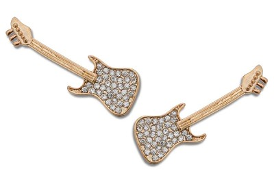 Sassy Clips Gold Electric Guitar with Clear Crystal Rhinestones and Neck Lays on Outer Strap
