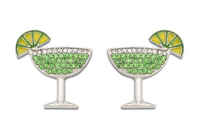 Sassy Clips Silver Margaritaville with Peridot Crystal Rhinestones and Clear Crystal Rhinestone Rim