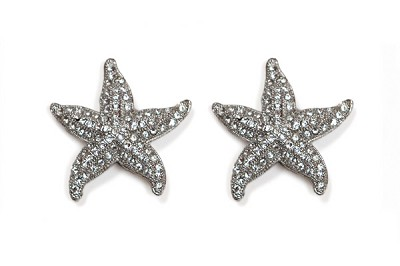 Sassy Clips Silver Large Starfish with Clear Crystal Rhinestones