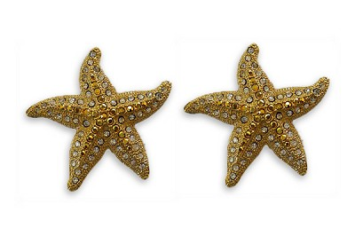 Sassy Clips Gold Large Starfish with Clear and Light Colorado Topaz Crystal Rhinestones