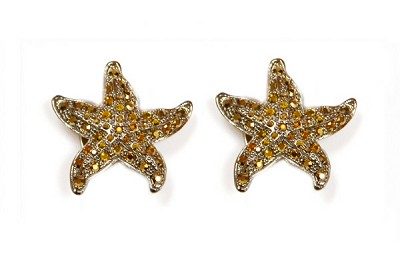 Sassy Clips Gold Small Starfish with Light Colorado Topaz Crystal Rhinestones