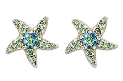 Sassy Clips Silver Petite Starfish with Peridot Crystal Rhinestone Rays and AB Crystal Rhinestone Center