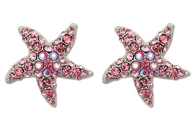 Sassy Clips Silver Petite Starfish with Rose Crystal Rhinestone Rays and AB Crystal Rhinestone Center