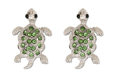 Sassy Clips Silver Baby Turtle with Peridot Crystal Rhinetone Shell and Black Bead Eyes