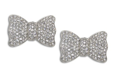 Sassy Clips Silver Classic Bow with Clear Crystal Rhinestones