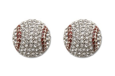 Sassy Clips Silver Large Baseball with Clear Crystal Rhinestones and Red Enamel Trim