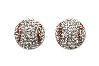 Sassy Clips Silver Baseball with Clear Crystal Rhinestones and Red Stitching Trim