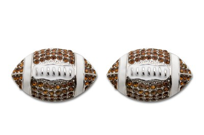 Sassy Clips Silver Football with Smoked Topaz Crystal Rhinestones and White Enamel with Silver Trim