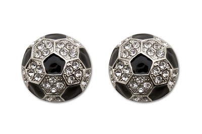 Sassy Clips Silver Soccer Ball with Clear & Black Crystal Rhinestones