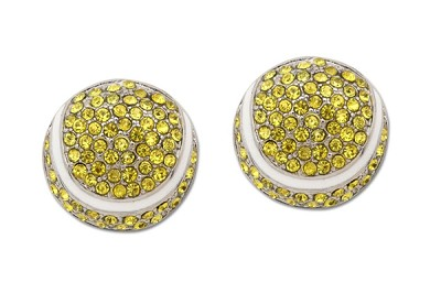 Tennis Sassy Clips Silver Ball with Optic Yellow Crystal Rhinestones and White Enamel Trim