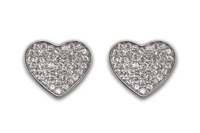 Sassy Clips Silver Small Heart with Clear Crystal Rhinestones
