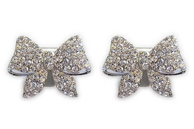 Sassy Clips Silver Bow with Clear Crystal Rhinestones